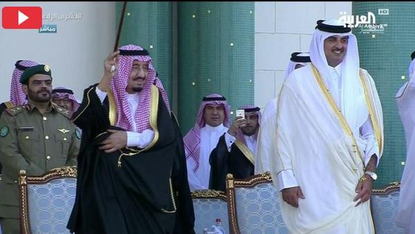 قطر: سعودی فرمانروا استقبالیہ تقریب میں عرضہ رقص پر جھوم اٹھے