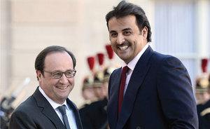 قطر کے شیخ کی فرانس کے صدر سے ملاقات